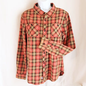 Junk Food Long Sleeve Plaid Peace Sign Shirt